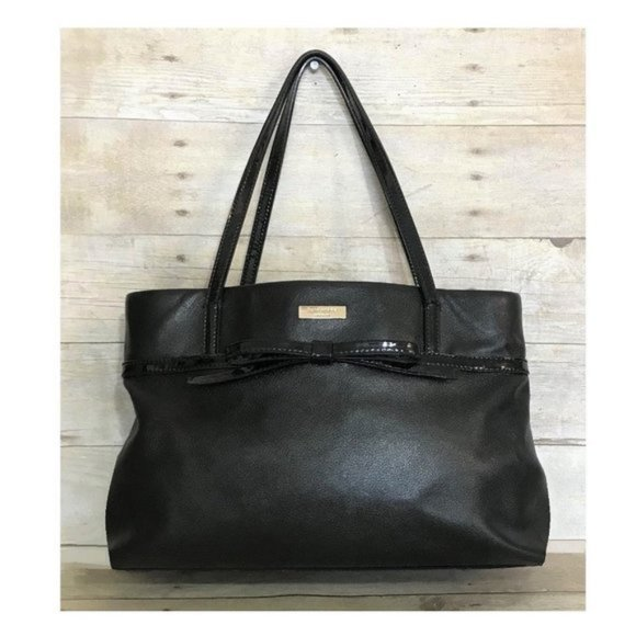 Kate Spade Black Leather Satchel With Bow COA